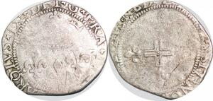 P1286 Rare Henri III au nom Charles IX double sol parisis illégal Montpellier