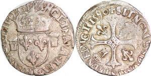 P1287 Henri IV douzain aux 2 H couronnées 1er type 1590 K Bordeaux