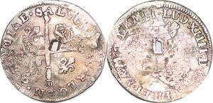 P1297 5 Sols aux insignes Louis XIV 1703 P Dijon Argent ->Faire offre