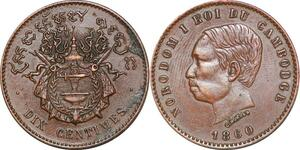 P1328 Cambodgia 10 centimes Norodom Ier 1860 XF / AU ->Make offer