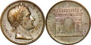 P1349 Rare Médaille Napoléon Le Grand Montagny Armée Arc de Triomphe SPL