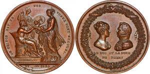 P1362 Rare Médaille Duc & Duchesse Berry 1820 Montagny FDC ->Faire offre