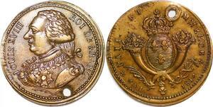 P1369 Rare Médaille Louis XVIII Paix Commerce Mai 1814 SUP ->Faire offre
