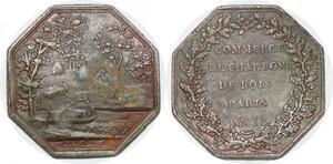 P1373 Médaille Octogonale Napoleon Ier Commerce Charbon Bois an 13 ->F offre