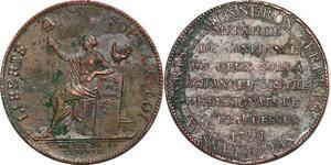 P1375 Médaille Confiance Monneron 2 sols Liberté 1791 Birmingham Soho - F offre