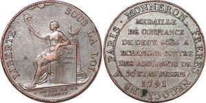 P1377 Médaille Confiance Monneron 2 sols Liberté 1791 Birmingham Soho - F offre