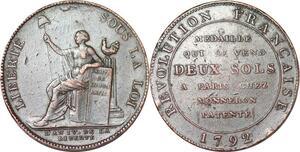 P1379 Médaille Confiance Monneron 2 sols Liberté 1792 an IV ->Faire offre