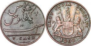 P1391 India British Madras Presidency 5 cash 1803 XF -> Faire offre