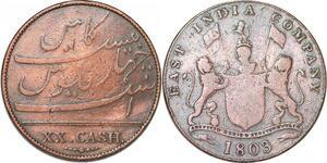 P1393 India British Madras Presidency 20 cash 1803 -> Faire offre