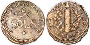 P1395 Germany Siege Mainz Mayence 5 Sols Friedrich Karl Joseph 1793 ->M offer