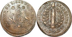 P1396 Germany Siege Mainz Mayence 5 Sols Friedrich Karl Joseph 1793 ->M offer
