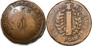 P1399 Germany Siege Mainz Mayence 5 Sols Friedrich Karl Joseph 1793 ->M offer