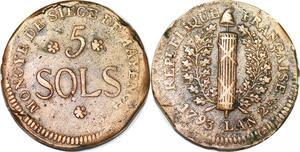 P1405 Germany Siege Mainz Mayence 5 Sols Friedrich Karl Joseph 1793 ->M offer