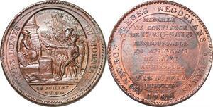 P1407 Médaille Confiance Monneron 5 Sols serment an IV 1792 TTB+ -> Faire offre