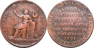 P1411 Médaille Confiance Monneron 2 sols Liberté 1791 an III ->Faire offre