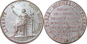 P1413 Médaille Confiance Monneron 2 sols Liberté 1791 Birmingham Soho XF++