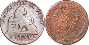 P1428 Belgium 2 centimes Léopold Ier 1857 -> Faire offre