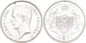 P1430 Belgium 20 francs Belga Albert I 1931 XF+-> Faire offre
