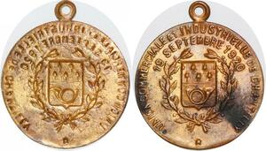 P1432 Médaille Uniface Union Commerciale Chantilly 19 Sept 1920 ->Faire offre