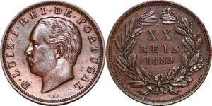 P1439 Portugal 20 reis Luiz Ier 1883 AU ->Make offer