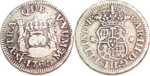 P1483 Mexico 1/2 Real Carlos III 1765 Mo Mexiko City Silver -> Make offer KM#68