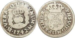 P1492 Mexico 1/2 Real Philippe V 1744 Mo Mexiko City Silver -> Make offer