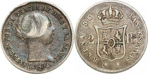 P1493 Scarce Spain 2 Reales Isabel II Silver ->Make offer