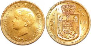 P1501 Romania 5 Lei Mihai I 1930 UNC -> Make offer