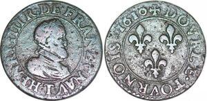 P1520 Rare Henri IV double tournois frappe posthume 1610 Nantes