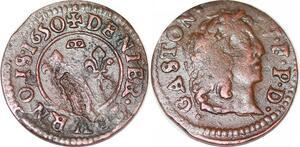 P1525 Denier tournois Gaston Orléans 1650 Trévoux ->Faire offre