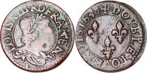 P1541 Double Tournois Louis XIII 1638 E Tours ->Faire offre