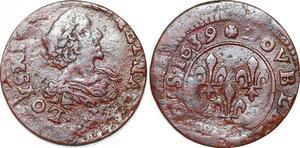 P1545 Fauté Double Tournois Louis XIII 1639 decentré !! ->Faire offre