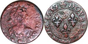 P1549 Louis XIII Double Tournois 1639 H La Rochelle ->Faire offre