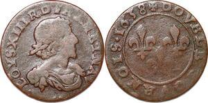 P1555 Double Tournois Louis XIII 1638 ->Faire offre