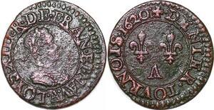 P1556 Rare R4 Louis XIII denier tournois 1er type 1620 Paris ->Faire offre