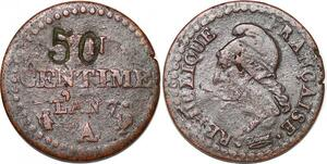 P1571 Un Centime Dupré an 7 A Paris contremarque 50 ->Faire offre