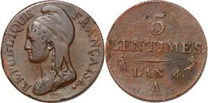 P1594 France 5 centimes Dupré petit module an 4 1795 A Paris ->Faire offre