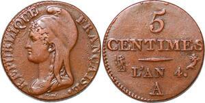 P1596 France 5 centimes Dupré petit module an 4 1795 A Paris ->Faire offre