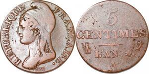 P1603 France 5 centimes Dupré petit module an 4 1795 A Paris ->Faire offre