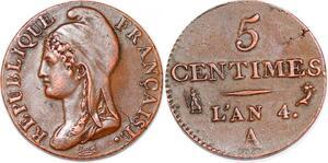 P1606 Rare France 5 centimes Dupré petit module an 4 1795 A Paris SUP >M offer