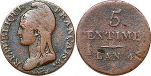 P1612 France 5 centimes Dupré petit module an 4 1795 A Paris ->Faire offre