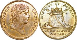 P1670 Jeton Honneur et Patrie Couronnement Napoléon an 13 1804 SUP ->F offre