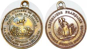 P1679 Médaille Aux Citoyens de Paris Fevrier Baricades 1848 ->Faire offre