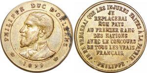 P1689 Médaille Philippe Duc Orléans 1899 Concours tous les français SUP