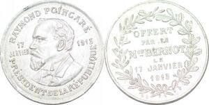 P1690 Médaille Raymond Poincaré Président 17 Janvier 1913 Bernot SUP