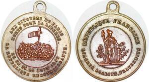 P1692 Médaille Aux Citoyens de Paris Fevrier Baricades 1848 ->Faire offre