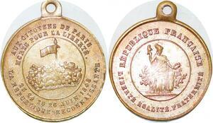 P1694 Médaille Aux Citoyens de Paris Fevrier Baricades 1848 SUP ->Faire offre