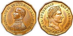 P1696 Rare Médaille Général Bertrand fidèle ami Napoléon I 1772 1844 FDC