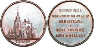 P1705 Rare Médaille restauration église Sceaux Duc Trévise 1853 SUP