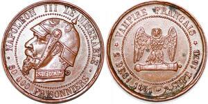 P1718 Satirique 5 centimes Vampire Sedan 1870 Prusse Napoléon III Misérable SPL